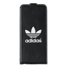 Genuine Adidas Leather Vertical Booklet Flip Case Cover for iPhone 5/5S/SE - Black/White ADBLPIP5000S1302 (Bulk Packed)