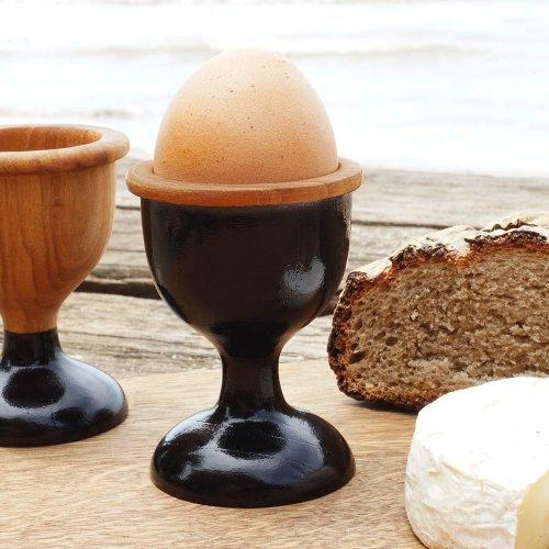 Teak Wooden Egg Cup Dante Black