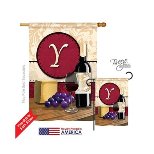 Breeze Decor 30233 Wine Y Monogram 2-Sided Vertical Impression House Flag - 28 x 40 in.