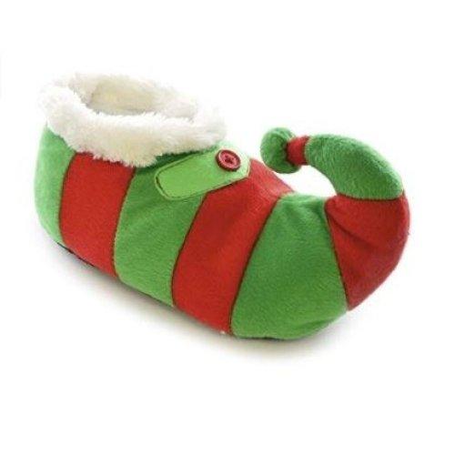Kids Medium 11/12 Plush Novelty Plush 3D Christmas Elf Slippers Green/Red
