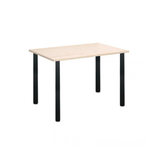 Computer Desk Office Dining Table Workstation Black Legs Square Maple Top 120x80cm