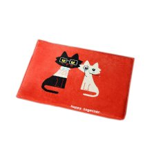 Mr Black & Mrs White Cats Area Rug Red Flannel Doormat