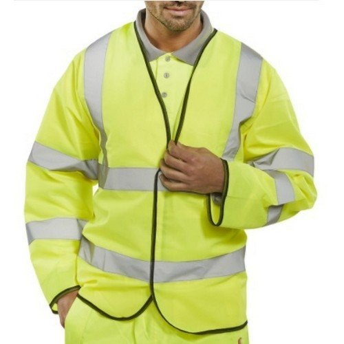 Click PKJENG(RT)4XL Hi Vis Yellow with Red Brace Long Sleeve Jerkin XXXXL