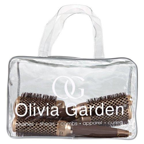 "Olivia Garden NanoThermicâ""¢ Thermal Round Hair Brushes Bag 4pcs (24, 34, 44, 54mm) - Anti-Bacterial, Ceramic, Anti-Static, Tourmaline-Ion"