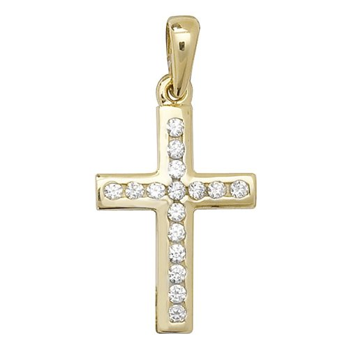 9ct Gold Cubic Zirconia Cross Pendant On A Belcher Necklace