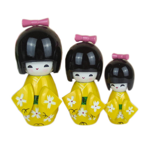 3 Pcs Lovely Japanese Kimono Girl Wooden Dolls With Cherry Blossoms, Yellow