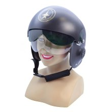 Black Adults Jet Pilot Helmet -  jet pilot helmet fancy dress costume accessory military air force adult fighter