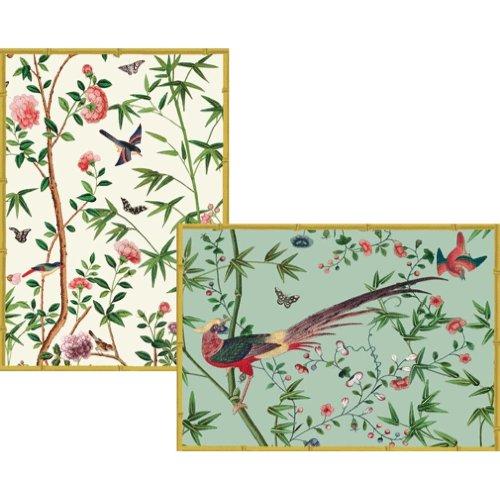 Caspari 8 Greeting Cards Notelets Blank & envelopes - Chinese Wallpaper Chatsworth