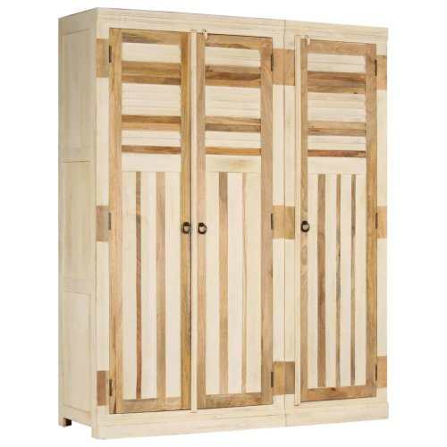 vidaXL Solid Mango Wood Wardrobe Set 2 Piece Bedroom Clothes Storage Organiser