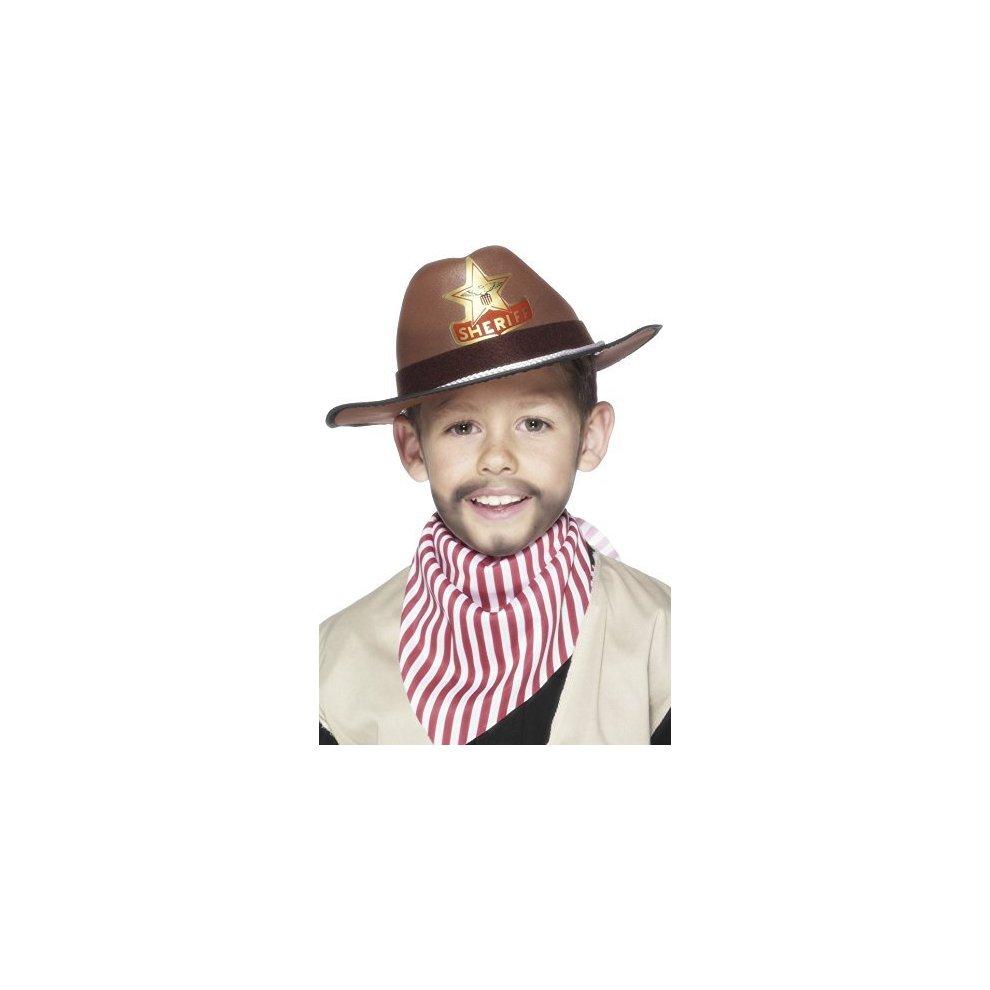 Brown Childrens Sheriff Cowboy Hat   hat cowboy sheriff fancy dress boys badge brown girls accessory childrens smiffys