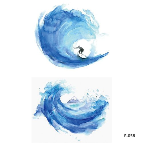 67c6d1a3e WYUEN 5 Sheets Watercolor Wave Surfing Temporary Tattoos Fake Tattoo  Sticker for Women Men Body Art 9.8X6cm FE-058 on OnBuy