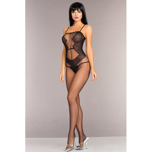 Open Bodystocking With Lace Design  Ladies Lingerie Cat suits - Be Wicked