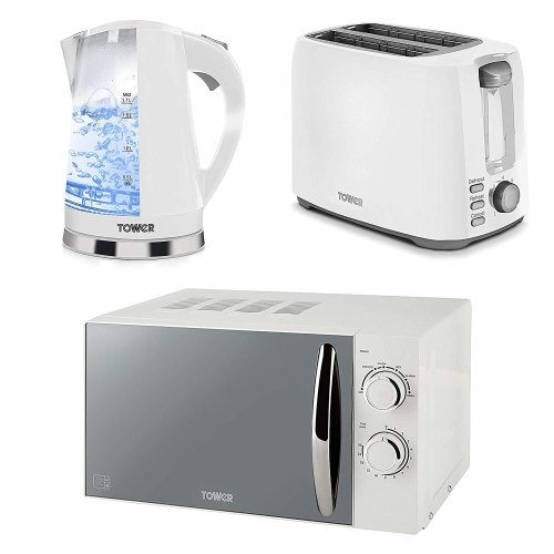 White Manual Solo Microwave, 1.7L Colour changing Kettle, 2 Slice Toaster Set