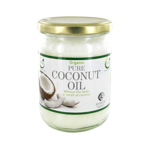 TIVI Organic Refined & Odourless Coconut Oil Glass Jar Of 500 ml For Hair / Skin / Body / cooking /baking and Gluten Free, Vegetarian, Vegan