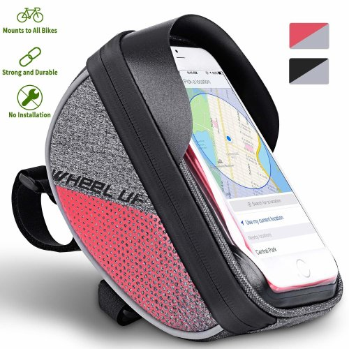 Bike Handlebar Bag Bike Pouch Cycling Frame Bag Universal Bicycle Front Pannier Top Tube Waterproof Touch Screen Transparent For Smart phones up to...