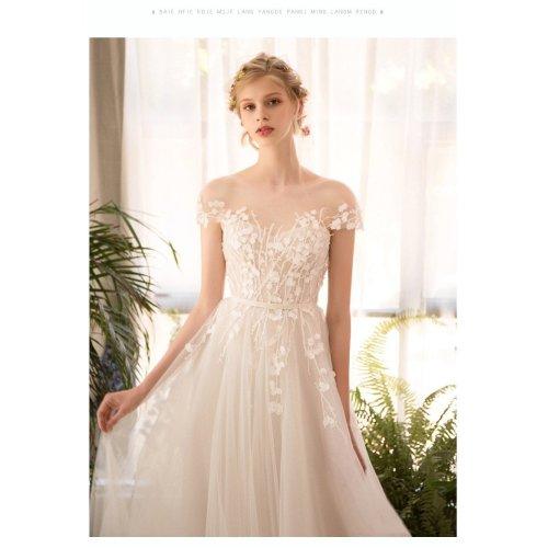 long half sleeve  lace wedding dress high quality bride simple bridal gown real photo wedding-dress vestido de noiva