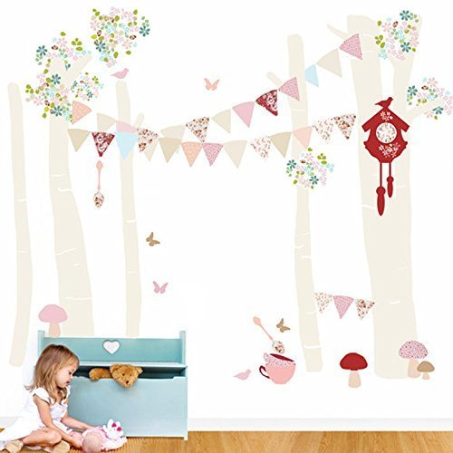 Oopsy Daisy Birch Tree Forest Vintage Girl Peel and Place NeutralPastelPink 54 x 60