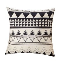 Black and White Triangle Pattern Home Cotton and Linen Durable Pillow