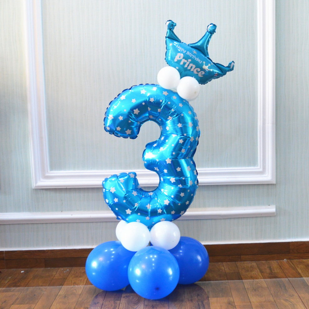 Column Balloons Childrens Birthday Party Balloon Stage Decoration Number 3 Blue