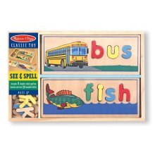 Melissa & Doug See & Spell Wooden Educational Toy With 8 Double-Sided Spelling Board