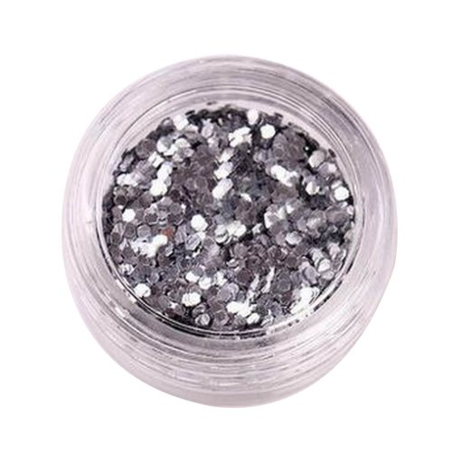5 Boxes Makeup Glitter Sequins Shining Nail Art Sequins Face Glitter, Silver