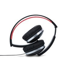 Thumbs Up Folding Headphone - Black -  folding black over ear headphones 35mm inline remote microphone thumbs up