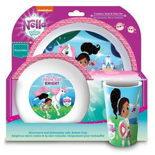Nella the Princess Knight Tumbler, Bowl and Plate Set, 3 Piece
