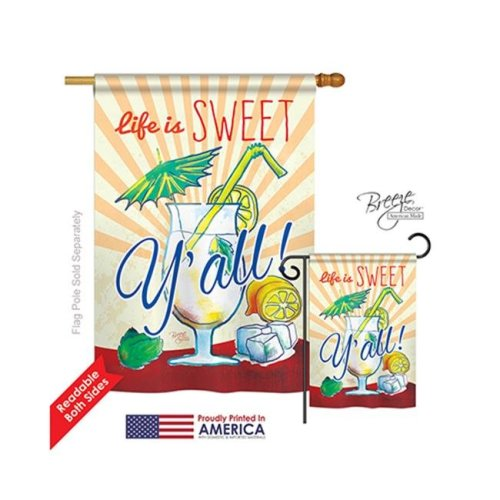 Breeze Decor 17037 Sweet Y all 2-Sided Vertical Impression House Flag - 28 x 40 in.