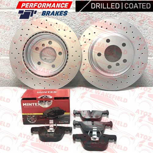 FOR BMW 3 SERIES 330d M SPORT REAR PERFORMANCE DRILLED BRAKE DISCS MINTEX PADS