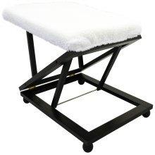 EASY - Folding Adjustable Solid Wood Comfort Footstool / Footrest - Dark Brown / Cream