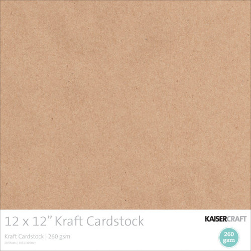 "Kaisercraft Cardstock 12""X12"" 20/Pkg-Kraft, 260gsm"