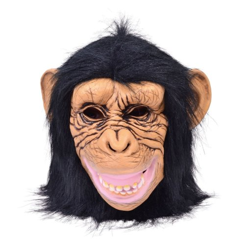 Chimp Overhead Fancy Dress Mask -  adult animals nature chimp rubber mask fancy dress accessory