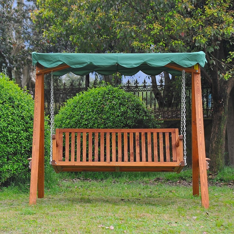 Outsunny 3 Seater Wooden Garden Swing Chair On Onbuy