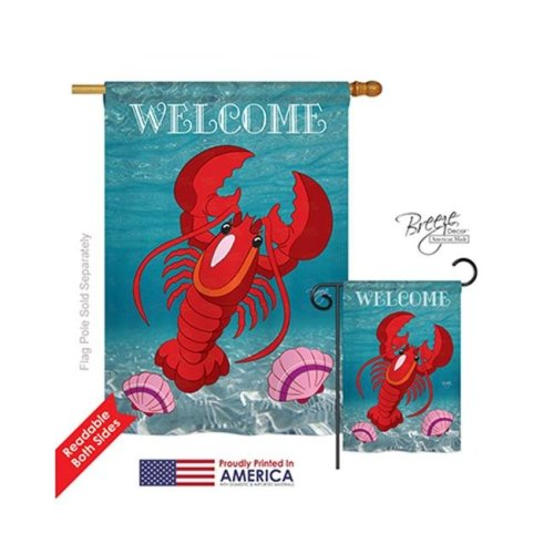 Breeze Decor 07026 Beach & Nautical Lobster 2-Sided Vertical Impression House Flag - 28 x 40 in.