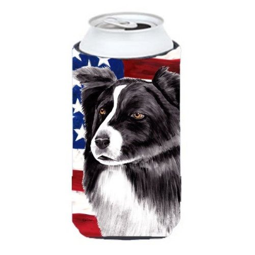 Carolines Treasures SC9009TBC Usa American Flag With Border Collie Tall Boy bottle sleeve Hugger - 22 To 24 oz.