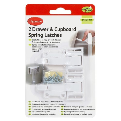 Clippasafe Drawer & Cupboard Spring Latches (2 Pack)