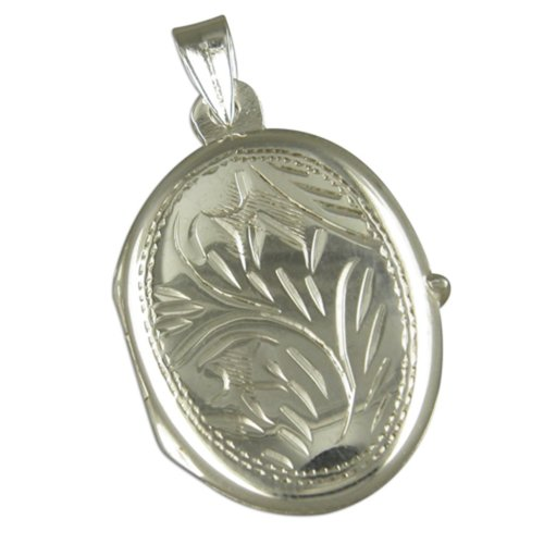 Childrens Sterling Silver Medium Engraved Oval Locket On A Curb Necklace