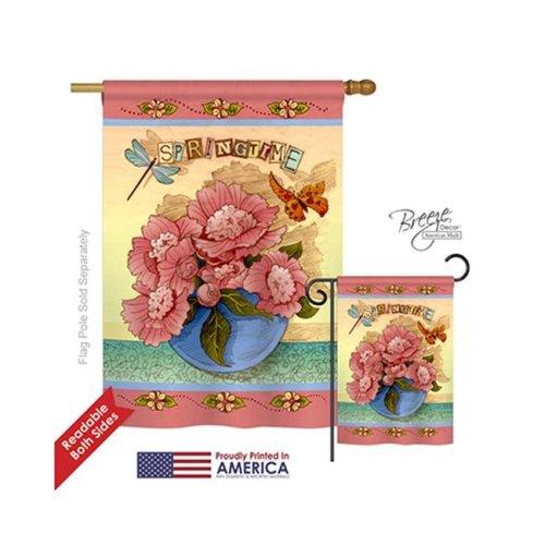 Breeze Decor 04084 Floral Springtime 2-Sided Vertical Impression House Flag - 28 x 40 in.