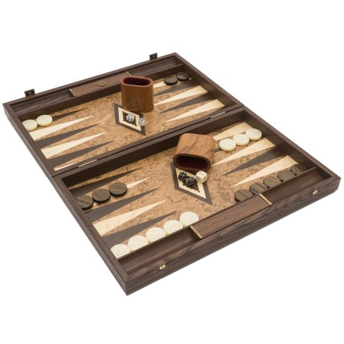 The Manopoulos Luxury Walnut Burl and Wenge Backgammon Set with Luxury Cups