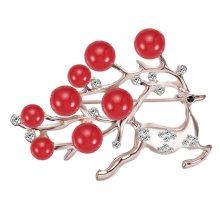 Red Rhinestone Women 's Brooch Pin