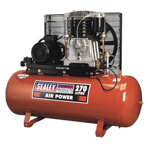 Sealey SAC62710B 270ltr Belt Drive Compressor 10hp 3ph 2-Stage with Cast Cylinders