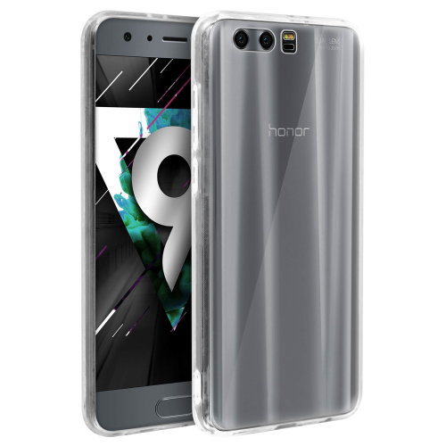 Tough rear clear case + shock absorbing silicone bumper for Honor 9