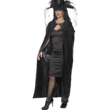 Smiffy's Deluxe Witch Cape - Black, Adult -  cape deluxe halloween fancy dress witch ladies witches black costume smiffys accessory adult