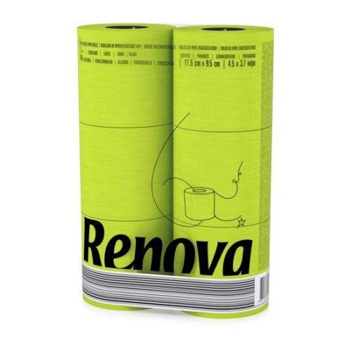 Renova [6 Rolls Green] 3 Ply Soft Colour Toilet Loo Bathroom Tissue Paper Rolls