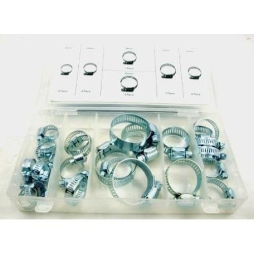 Toolzone 26pc Hose Clips In Plastic Storage Case - Set Clamps Jubilee Assorted -  hose set clips 26pc clamps jubilee assorted plated zinc steel case