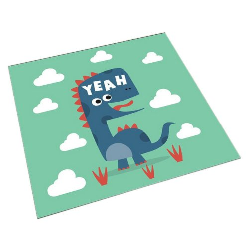 Square Cute Cartoon Children's Rugs, Green And Long-necked Cartoon Dinosaur