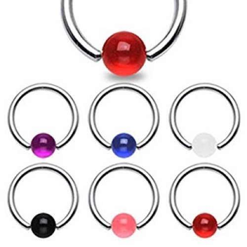 Acrylic Surgical Steel Captive Bead Ring CBR Universal Body Jewellery