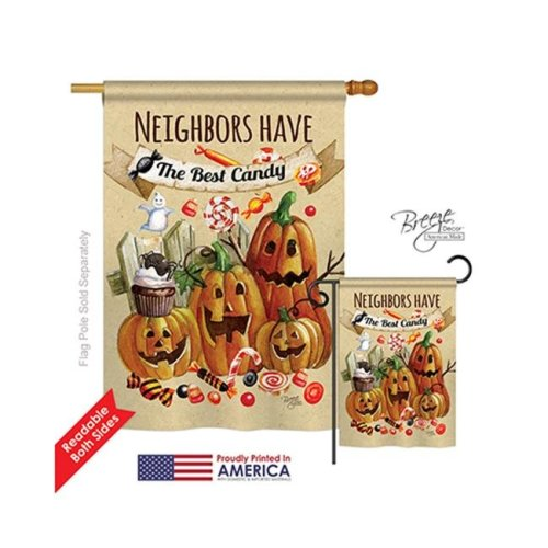 Breeze Decor 12067 Halloween Neighbors Candy 2-Sided Vertical Impression House Flag - 28 x 40 in.