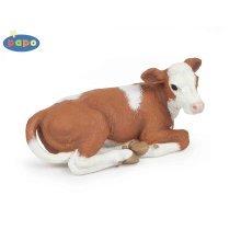 Papo Lying Simmental Calf Figurine - Animal Farm Toy Animals Realistic Model -  papo animal farm toy animals realistic model farmyard figures hand