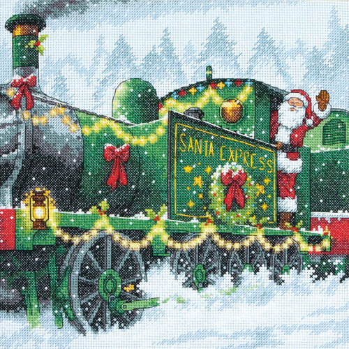 "Dimensions Counted Cross Stitch Kit 10""X10""-Santa Express (14 Count)"